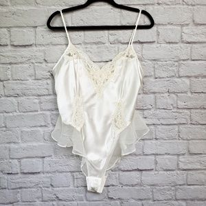 Vintage Victoria's Secret Cream Teddy Bodysuit